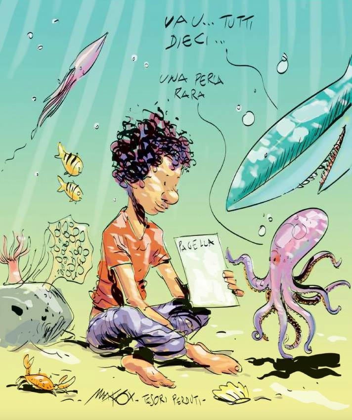 Illustration by Makkox of migrant boy from Mali at bottom of sea showing an octopus his report card