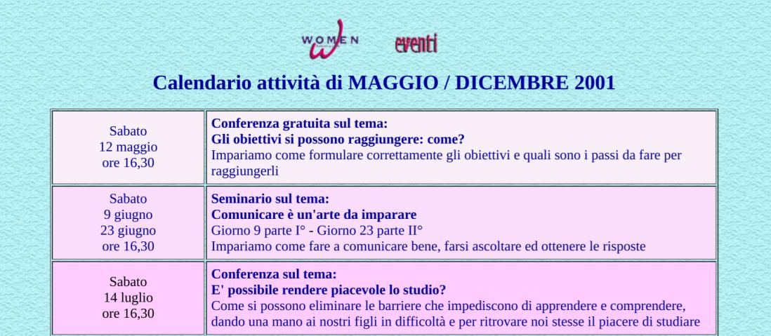Screenshot of website's calendar of activities from 2001